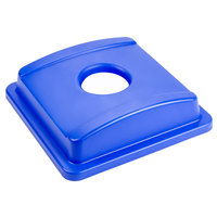 Continental 1725-2 SwingLine Blue Square Recycling Lid with Hole