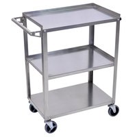Luxor SSC-3 Stainless Steel 3 Shelf Utility Cart - 16 inch x 28 1/4 inch x 34 1/4 inch