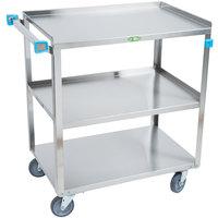 Lakeside 422 Medium Duty Stainless Steel 3 Shelf Utility Cart - 19 inch x 31 inch x 32 inch
