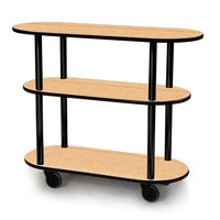 Geneva 36200 Oval 3 Shelf Laminate Table Side Service Cart with Maple Finish - 16 inch x 42 3/8 inch x 35 1/4 inch