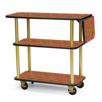 Geneva 36102 Rectangular 3 Shelf Laminate Tableside Service Cart with 10 inch Drop Leaf and Victorian Cherry Finish - 16 inch x 48 inch x 35 1/4