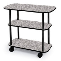 Geneva 36100 Rectangular 3 Shelf Laminate Tableside Service Cart with Gray Sand Finish - 16 inch x 42 3/8 inch x 35 1/4 inch