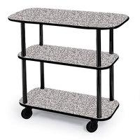 Geneva 36100-01 Rectangular 3 Shelf Laminate Tableside Service Cart with Gray Sand Finish - 16 inch x 42 3/8 inch x 35 1/4 inch