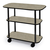 Geneva 36100 Rectangular 3 Shelf Laminate Tableside Service Cart with Beige Suede Finish - 16 inch x 42 3/8 inch x 35 1/4 inch