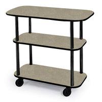 Geneva 36100-09 Rectangular 3 Shelf Laminate Tableside Service Cart with Beige Suede Finish - 16 inch x 42 3/8 inch x 35 1/4 inch