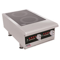 APW Wyott IHP-2 Workline Dual Hob Countertop Hot Plate Induction Range - 7000W, 3 Phase