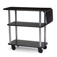 Geneva 36102 Rectangular 3 Shelf Laminate Tableside Service Cart with 10 inch Drop Leaf and Black Finish - 16 inch x 48 inch x 35 1/4