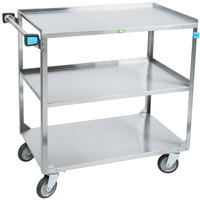 Lakeside 444 Medium Duty Stainless Steel 3 Shelf Utility Cart - 22 3/8 inch x 39 1/4 inch x 37 1/4 inch