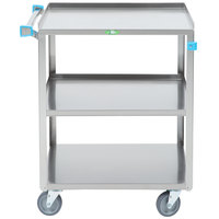 Lakeside 411 Medium Duty Stainless Steel 3 Shelf Utility Cart - 16 3/4 inch x 27 5/8 inch x 32 inch