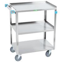 Lakeside 411 Medium Duty Stainless Steel 3 Shelf Utility Cart - 16 3/4 inch x 27 5/8 inch x 32 inch
