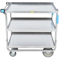 Lakeside 744 Heavy Duty Stainless Steel 3 Shelf Utility Cart - 22 3/8 inch x 38 5/8 inch x 37 1/8 inch