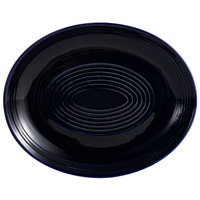 CAC TG-14C-CBU Tango 12 3/4 inch x 10 1/4 inch Cobalt Blue Coupe Oval Platter - 12/Case