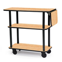 Geneva 36102-03 Rectangular 3 Shelf Laminate Tableside Service Cart with 10 inch Drop Leaf and Maple Finish - 16 inch x 48 inch x 35 1/4