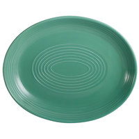 CAC TG-13C-G Tango 11 1/2 inch x 9 1/4 inch Green Coupe Oval Platter - 12/Case