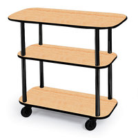 Geneva 36100 Rectangular 3 Shelf Laminate Tableside Service Cart with Maple Finish - 16 inch x 42 3/8 inch x 35 1/4 inch
