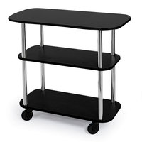 Geneva 36100 Rectangular 3 Shelf Laminate Tableside Service Cart with Black Finish - 16 inch x 42 3/8 inch x 35 1/4 inch