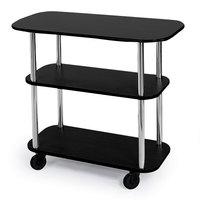Geneva 36100-05 Rectangular 3 Shelf Laminate Tableside Service Cart with Black Finish - 16 inch x 42 3/8 inch x 35 1/4 inch