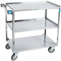 Lakeside 459 Medium Duty Stainless Steel 3 Shelf Utility Cart - 22 3/8 inch x 54 1/8 inch x 37 1/4 inch