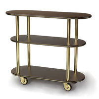 Geneva 36200 Oval 3 Shelf Laminate Table Side Service Cart with Mahogany Finish - 16 inch x 42 3/8 inch x 35 1/4 inch