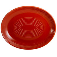 CAC TG-14C-R Tango 12 3/4 inch x 10 1/4 inch Red Coupe Oval Platter - 12/Case