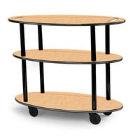 Geneva 36304 Oval 3 Shelf Laminate Table Side Service Cart with Handle Cutouts and Maple Finish - 23 inch x 44 inch x 35 1/4