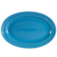 CAC TG-51-PCK Tango 15 3/4 inch x 11 inch Peacock Oval Platter - 12/Case