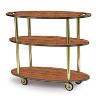 Geneva 36304 Oval 3 Shelf Laminate Table Side Service Cart with Handle Cutouts and Victorian Cherry Finish - 23 inch x 44 inch x 35 1/4