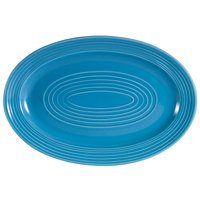 CAC TG-12-PCK Tango 10 5/8 inch x 7 3/4 inch Peacock Oval Platter - 24/Case