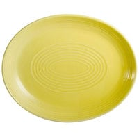 CAC TG-13C-SFL Tango 11 1/2 inch x 9 1/4 inch Sunflower Coupe Oval Platter - 12/Case