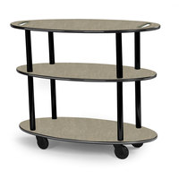 Geneva 36304-09 Oval 3 Shelf Laminate Table Side Service Cart with Handle Cutouts and Beige Suede Finish - 23 inch x 44 inch x 35 1/4