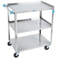 Lakeside 322 Standard Duty Stainless Steel 3 Shelf Utility Cart - 18 3/8 inch x 30 3/4 inch x 33 inch