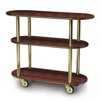 Geneva 36200 Oval 3 Shelf Laminate Table Side Service Cart with Red Maple Finish - 16 inch x 42 3/8 inch x 35 1/4 inch