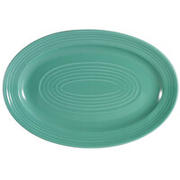 CAC TG-13-G Tango 11 3/4 inch x 8 inch Green Oval Platter - 12/Case