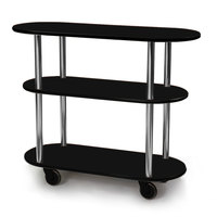 Geneva 36200 Oval 3 Shelf Laminate Table Side Service Cart with Black Finish - 16 inch x 42 3/8 inch x 35 1/4 inch