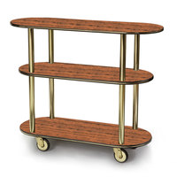 Geneva 36200 Oval 3 Shelf Laminate Table Side Service Cart with Victorian Cherry Finish - 16 inch x 42 3/8 inch x 35 1/4 inch