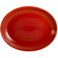 CAC TG-13C-R Tango 11 1/2 inch x 9 1/4 inch Red Coupe Oval Platter - 12/Case
