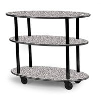 Geneva 36304 Oval 3 Shelf Laminate Table Side Service Cart with Handle Cutouts and Gray Sand Finish - 23 inch x 44 inch x 35 1/4