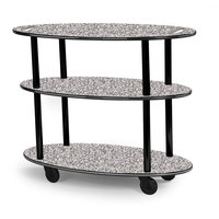 Geneva 36304-01 Oval 3 Shelf Laminate Table Side Service Cart with Handle Cutouts and Gray Sand Finish - 23 inch x 44 inch x 35 1/4