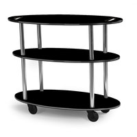 Geneva 36304 Oval 3 Shelf Laminate Table Side Service Cart with Handle Cutouts and Black Finish - 23 inch x 44 inch x 35 1/4