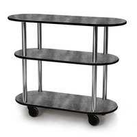 Geneva 36200 Oval 3 Shelf Laminate Table Side Service Cart with Pewter Brush Finish - 16 inch x 42 3/8 inch x 35 1/4 inch