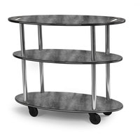 Geneva 36304 Oval 3 Shelf Laminate Table Side Service Cart with Handle Cutouts and Pewter Brush Finish - 23 inch x 44 inch x 35 1/4