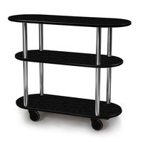 Geneva 36200 Oval 3 Shelf Laminate Table Side Service Cart with Ebony Wood Finish - 16 inch x 42 3/8 inch x 35 1/4 inch