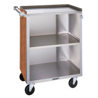 Lakeside 810 3 Shelf Medium Duty Stainless Steel Utility Cart with Enclosed Base and Victorian Cherry Finish - 16 7/8 inch x 28 1/4 inch x 34 1/2 inch
