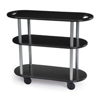 Geneva 36204 Oval 3 Shelf Laminate Table Side Service Cart with Handle Cutouts and Ebony Wood Finish - 16 inch x 42 3/8 inch x 35 1/4