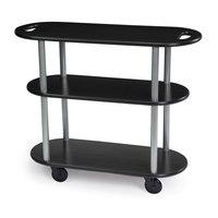 Geneva 36204-08 Oval 3 Shelf Laminate Table Side Service Cart with Handle Cutouts and Ebony Wood Finish - 16 inch x 42 3/8 inch x 35 1/4