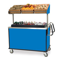 Lakeside 668 Stainless Steel Vending Cart with Insulated Polyethylene Ice Bin, Overhead Shelf, and Royal Blue Finish - 28 1/2 inch x 54 3/4 inch x 67 inch