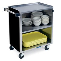 Lakeside 622 3 Shelf Medium Duty Stainless Steel Utility Cart with Enclosed Base and Black Finish - 19 inch x 30 3/4 inch x 33 7/8 inch