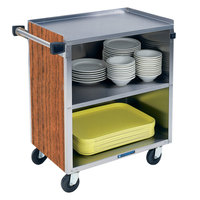 Lakeside 622VC 3 Shelf Medium Duty Stainless Steel Utility Cart with Enclosed Base and Victorian Cherry Finish - 19 inch x 30 3/4 inch x 33 7/8 inch