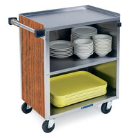 Lakeside 622 3 Shelf Medium Duty Stainless Steel Utility Cart with Enclosed Base and Victorian Cherry Finish - 19 inch x 30 3/4 inch x 33 7/8 inch