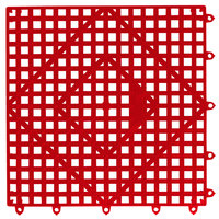 San Jamar VM5280RD-12 Versa-Mat® 12 inch x 12 inch Red Interlocking Bar Matting - 12/Case
